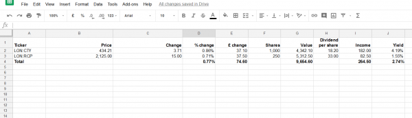 Screenshot of Google Sheet to measure portfolio performance