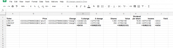 Screenshot of Google Sheet to measure portfolio performance, showing formulas