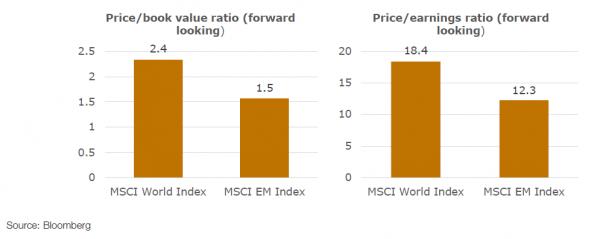 Emerging market valuations from Mobius Investment Trust prospectus