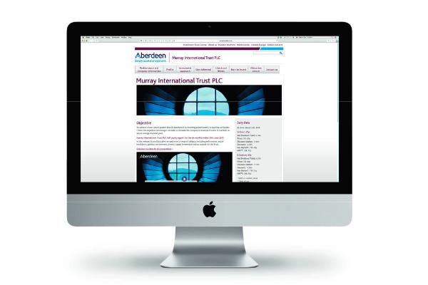 Murray International website on a PC monitor