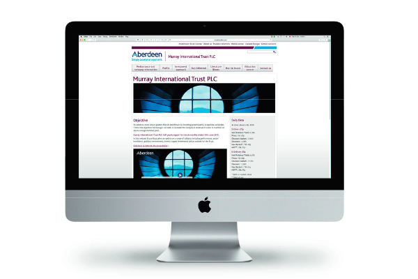 Murray International website on a PC monitor
