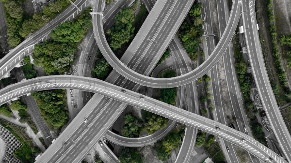 HICL, aerial view of Spaghetti Junction, Photo by _M_V_ on Unsplash
